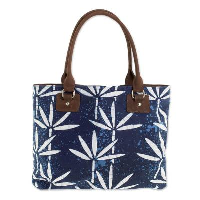 Batik Leather Accented Cotton Shoulder Bag in Indigo