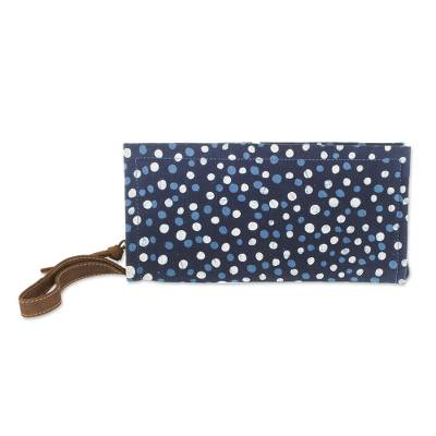 Batik Leather Accented Cotton Wristlet in Indigo