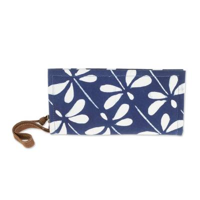 Batik Leather Accent Dragonfly Wristlet from El Salvador