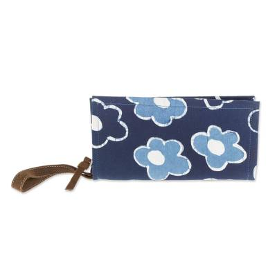 Floral Batik Leather Accent Cotton Wristlet from El Salvador