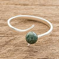 Jade solitaire ring, 'Simple Dark Green Abstraction' - Jade Solitaire Ring in Dark Green from Guatemala