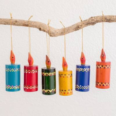 Reclaimed wood ornaments, 'Festival Lights' (set of 6) - Assorted Color Reclaimed Wood Candle Ornaments (Set of 6)