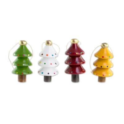Assorted Color Reclaimed Wood Tree Ornaments (Set of 4)