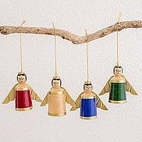 Wood ornaments, 'Lovely Angels' (set of 4) - Assorted Color Reclaimed Wood Angel Ornaments (Set of 4)