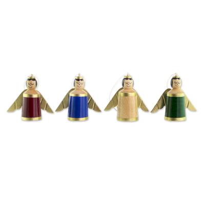 Assorted Color Reclaimed Wood Angel Ornaments (Set of 4)