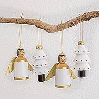 Reclaimed wood ornaments, 'Gilded Christmas in White' (set of 4) - White Gold Reclaimed Wood Angel Tree Ornaments (Set of 4)