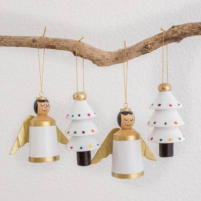 Reclaimed wood ornaments, Gilded Christmas in White (set of 4)