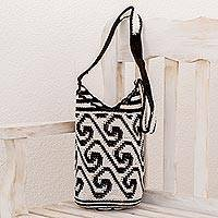 Cotton bucket bag, 'Black and White Waves' - Wave Motif Cotton Bucket Bag in Black and White