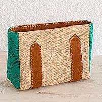Leather accented jute and cotton cosmetic bag, 'Guatemalan Valley' - Leather Accented Jute and Cotton Cosmetic Bag in Aqua