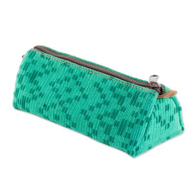 Leather Accented Cotton Clutch in Aqua from Guatemala
