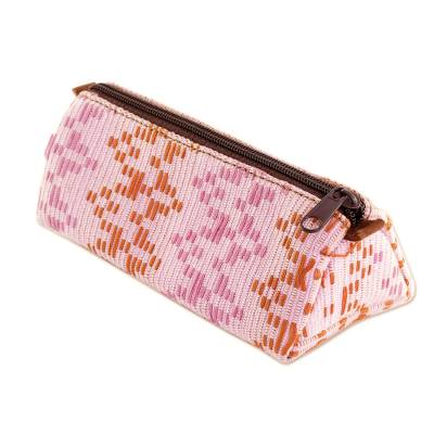 Leather Accented Cotton Clutch in Blush from Guatemala
