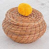 Pine needle basket, 'Natural Enchantment in Saffron' - Handmade Pine Needle Basket with a Saffron Cotton Pompom