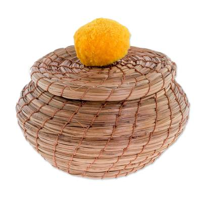 Handmade Pine Needle Basket with a Saffron Cotton Pompom