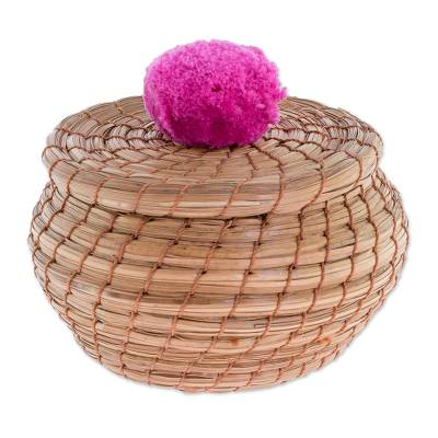 Handmade Pine Needle Basket with a Fuchsia Cotton Pompom