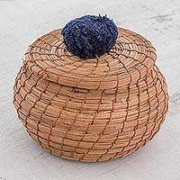 Pine needle basket, 'Natural Enchantment in Navy' - Handmade Pine Needle Basket with a Navy Cotton Pompom