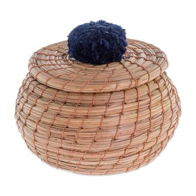 Handmade Pine Needle Basket with a Navy Cotton Pompom