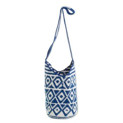 Cotton Bucket Bag with Indigo Rhombus Motifs from Guatemala