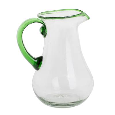 Handblown Recycled Glass Pitcher in Green from Guatemala