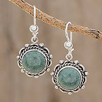 Jade dangle earrings, 'Sunrise in Antigua' - Round Jade Dangle Earrings from Guatemala
