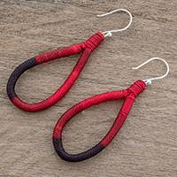 Dangle earrings, 'Harmony and Beauty in Chili' - Polyester and Pine Needle Dangle Earrings in Chili