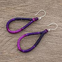 Dangle earrings, 'Harmony and Beauty in Purple' - Polyester and Pine Needle Dangle Earrings in Purple