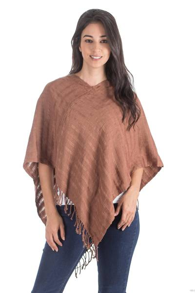 Handwoven Cotton Poncho in Burnt Sienna from Guatemala