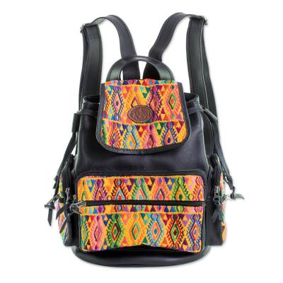 Black Leather and Cotton Backpack from Guatemala