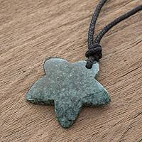 Jade pendant necklace, 'Natural Star in Green' - Jade Star Pendant Necklace in Green from Guatemala