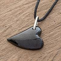 Jade pendant necklace, 'Culture of Love in Black' - Jade Heart Pendant Necklace in Black from Guatemala