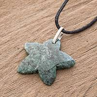 Jade pendant necklace, 'Mayan Star in Green' - Jade Star Pendant Necklace in Green from Guatemala