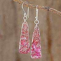 Recycled CD dangle earrings, 'Peaceful Life in Pink' - Recycled CD Dangle Earrings in Pink from Guatemala