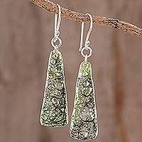 Recycled CD dangle earrings, 'Peaceful Life in Green' - Recycled CD Dangle Earrings in Green from Guatemala