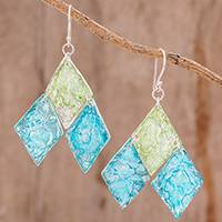 Recycled CD dangle earrings Form and Texture (Guatemala)