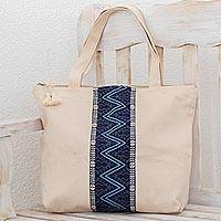 Cotton tote, 'Zigzag Lake' - Handwoven Cotton Tote in Ivory from Guatemala