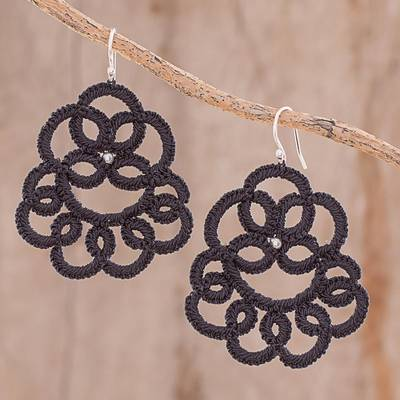 Hand-tatted dangle earrings, 'Elegant Swirls in Black' - Hand-Tatted Dangle Earrings in Black from Guatemala