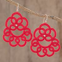 Hand-tatted dangle earrings, 'Elegant Swirls in Poppy' - Hand-Tatted Dangle Earrings in Poppy from Guatemala