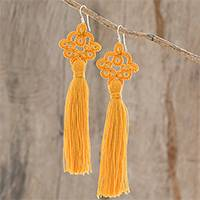 Hand-tatted dangle earrings, 'Antique Details in Marigold' - Hand-Tatted Marigold Dangle Earrings from Guatemala