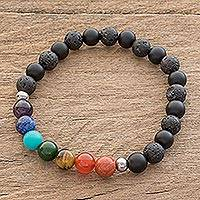 Men's multi-gemstone beaded stretch bracelet, 'Bold Chakra' - Men's Multi-Gemstone Chakra Beaded Stretch Bracelet