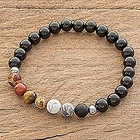 Men's multi-gemstone beaded stretch bracelet, 'Masculine Earth' - Men's Earth-Tone Multi-Gem Beaded Stretch Bracelet
