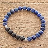 Men's lapis lazuli and agate beaded stretch bracelet, 'Deep' - Men's Lapis Lazuli and Agate Beaded Stretch Bracelet