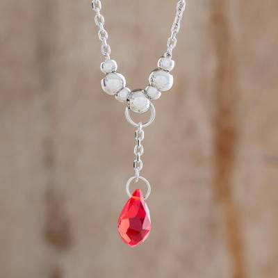Crystal pendant necklace, 'Glittering Drop in Red' - Crystal Drop Pendant Necklace in Red from Costa Rica
