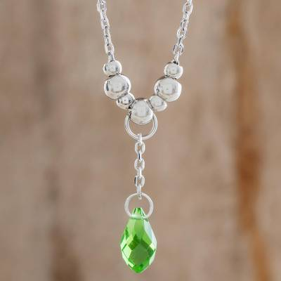 Crystal pendant necklace, 'Glittering Drop in Green' - Crystal Drop Pendant Necklace in Green from Costa Rica