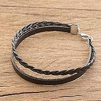 Men's faux leather braided wristband bracelet, 'Panther Pattern' - Men's Costa Rican Faux Leather Braided Wristband Bracelet