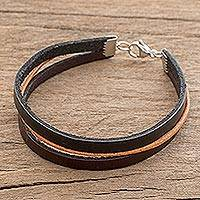 Men's faux leather wristband bracelet, 'Brown Paths' - Men's Faux Leather Wristband Bracelet from Costa Rica