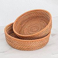 Pine needle baskets, 'Journey to Tecpan in Sepia' (pair) - Handmade Pine Needle and Cotton Baskets in Sepia (Pair)