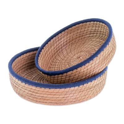 Handmade Pine Needle and Cotton Baskets in Navy (Pair)