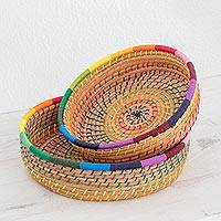 Pine needle baskets, 'Journey to Tecpan in Rainbow' (pair) - Handmade Pine Needle and Cotton Baskets in Rainbow (Pair)