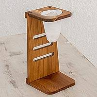 Teakwood single-serve drip coffee stand, 'Costa Rican Morning' - Teakwood Single-Serve Drip Coffee Stand from Costa Rica
