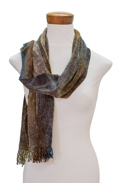 Rayon chenille scarf, 'Paths' - Earth-Tone Rayon Chenille Scarf from Guatemala