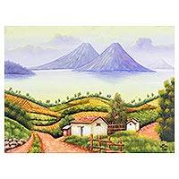 'Lake Atitlán - Signed Folk Art Painting of Lake Atitlán from Guatemala